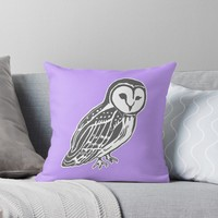 'Grey and White Barn Owl' Throw Pillow by Abigail Davidson