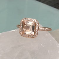 Asscher Cut Peach Morganite 14k Rose Gold Diamond Halo Engagement Ring Weddings Anniversary Bridal Set