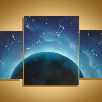Space Art - Wall Art - Space Painting - Paintings on Canvas - Original Painting - Earth - Constellation Art - Swarovski - Spray Paint Art