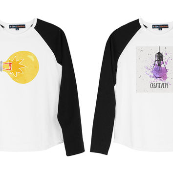 Kid's Watercolor Painted Light Bulb Printed Cotton Raglan T-shirt UTS_01