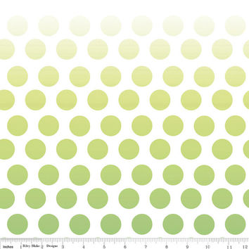 Ombre Green Polka Dot Cotton Fabric by Riley Blake Designs, 1 Yard, more yardage available