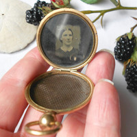 Antique Mourning Locket, 19th Century Civil War Era Tintype Photo Antique Locket