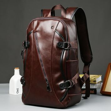New Arrive Large capacity Travel Laptop Backpack mochila Men's Leather Backpack Schoolbag Vintage Solid Leather Backpack men