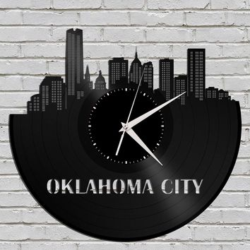 Oklahoma City Skyline - Oklahoma Clock, City Art, Cityscape Gift, Vinyl Record Clock,  Unique Wall Clock, Large Wall Clock, Personalized Art