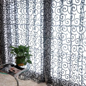 Tulle Curtains With Flowers Velvet Curtains On The Window Glass Blind Pastoral Floral Door Valances Velvet