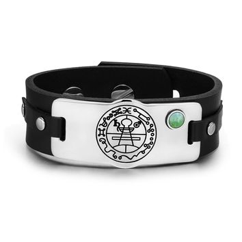 Secret Seal of Solomon Protection Magic Powers Amulet Green Quartz Gemstone Leather Bracelet