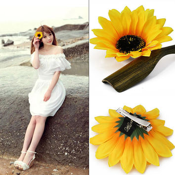 Handmade Sweet Sunflowers Hair Clips Women Girls Seaside Barrettes Headwear Hairpins for Holiday Hair Accessories