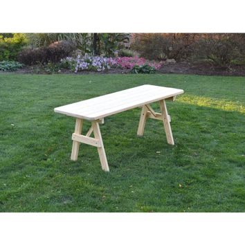 "A & L Furniture Co. Pressure Treated Pine 8' Traditional Table Only - Specify for FREE 2"" Umbrella Hole  - Ships FREE in 5-7 Business days"