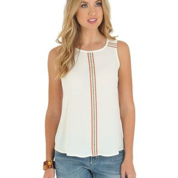 Wrangler Women's Sleeveless Embroidered Tape Shirt