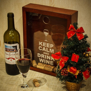 Wine Cork Box - Keep Calm and Drink Wine - Handmade Wine Cork Holder - Shadow Box - Cork Storage - Wedding Gift