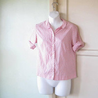 Pink Check Short Sleeve 1960s Shirt w/ Side Slits & Peter Pan Collar; Women's Small Checked Pink Top; U.S. Shipping Included