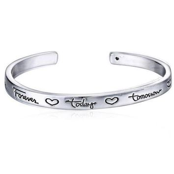 Hand Stamped Inspirational Quote Bangle [2 variations]
