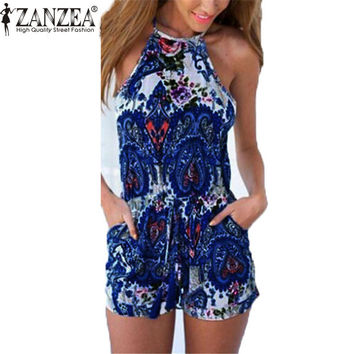 Summer Womens Hoollow Backless Rompers Jumpsuit Sexy Halter neck Sleeveless Playsuit Casual Beach Playsuit Overalls