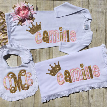 Princess Baby Set, Pink and Gold Bib, Gown, Bow and Blanket, Pick Your Pieces, Personalized Baby Shower Gift, Pink and Gold Baby Gift