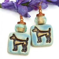 Ceramic Dog Rescue Earrings, Aqua Brown Copper Handmade Jewelry Women