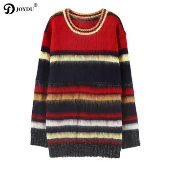 JOYDU Pullover Sweater Women 2017 Winter Designer Multicolor Striped Oversized Long Mohair Jumper Christmas Sweater pull femme