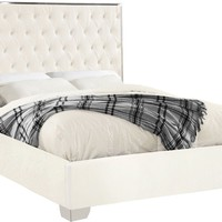 Lexi White Velvet King Bed