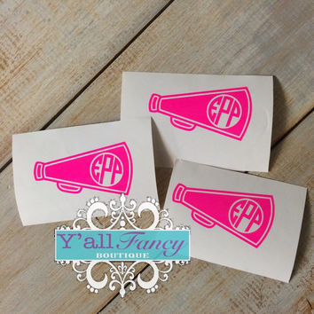 Monogrammed Megaphone Cheer Car Decal or Phone Decal