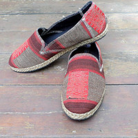 Womens Shoes Slip on Vegan Loafer In Red And Tan Ethnic Naga Tribal Textiles