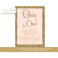 Blush Pink First Birthday Invitation, 1st 2nd Birthday ANY AGE Gold Glitter, vintage style, unique