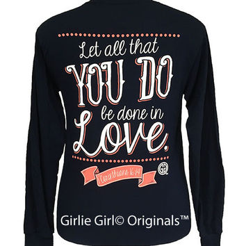 Girlie Girl Originals In Love Long Sleeve Navy Unisex Fit T-Shirt