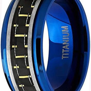 CERTIFIED 9mm Men's Brushed Blue Titanium Black and Yellow Carbon Fiber Inlay
