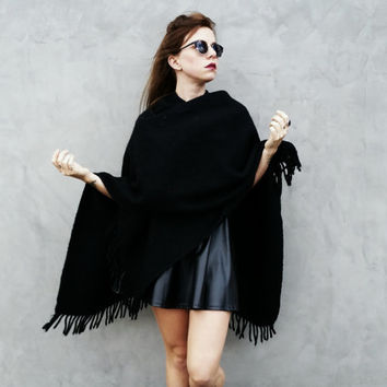 Italian Large Black Shawl/Wrap with Fringe