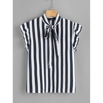 Tie Neck Flutter Sleeve Striped Blouse Navy
