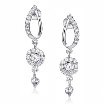 Flora Drop Round Cubic Zirconia Earrings