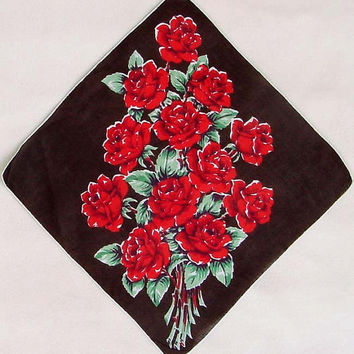 Red Rose Bouquet Hankie 1950s Handkerchief 12 1/2 Inches Square Dark Chocolate Brown Background  Cotton Hanky Hand Rolled Edge Floral Roses