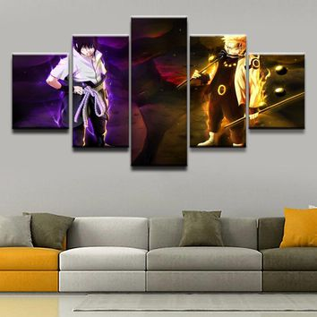 Naruto Sasauke ninja Wall Modular Pictures For Kids Room 5 Panel  Uzumaki Sasuke Uchiha  Photo Decorative Framework HD Poster Canvas Painting AT_81_8