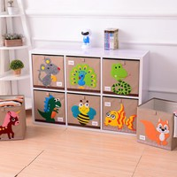 3D Embroidery Cartoon Folding Linen storage box clothes organizers kid toys storage box Laundry large storage basket Organizador