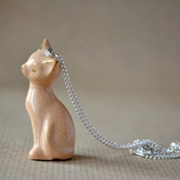 Honey and gold - ceramic cat necklace, kitten necklace, animal, pet, whimsical creature, pastel colors