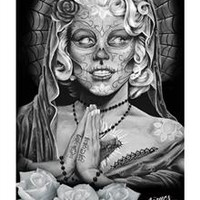 Day of the Dead Grey Roses Poster