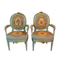 Louis XIV Style Pair of French Needlepoint Armchairs