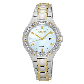 Seiko Womens Solar Crystal Sport Watch - Two-Tone - Mother of Pearl Dial - Date
