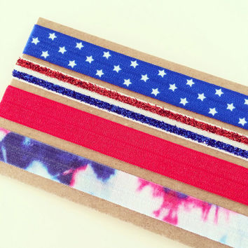 SALE Fourth of July Headband Set // Red, White + Blue Elastic Boho Tie Dye Headbands for Baby, Toddler, Kids + Adults, Red White and Blue