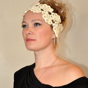Crochet Headwrap Headband CHOOSE COLOR Off White Irish by lucymir