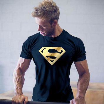 Superman Superhero Printed Mens T-shirt Muscle Gym Fitness Muscle Training Clothing Bodybuilding Tops Workout T Shirts Plus Size