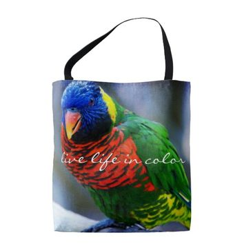 """Color"" quote red blue & green bird photo tote bag"