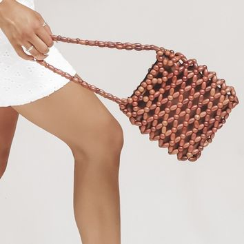 Park Avenue Brown Beaded Handbag