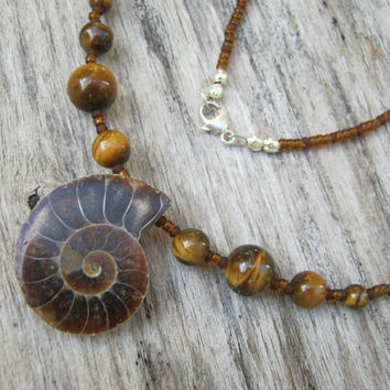 "Ammonite Fossil Necklace,  18"" Gemstone Necklace, Tiger Eye Necklace, Nautilus Fossil Beaded Jewelry, Sterling Silver, READY To SHIP"