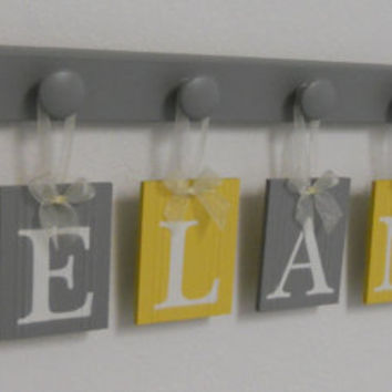 Yellow Gray Nursery Wall Art - Grey Yellow Baby Girl Nursery Decor - Custom for DELANEY - Personalized Name and 7 Wooden Wall Hooks