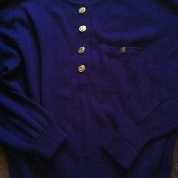 violet 80s ugly sweater gold buttons size large