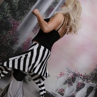 Mini Skirt Over Skirt Tribal Fusion Bellydance Black and White Stripes by Mean Kitty Wear