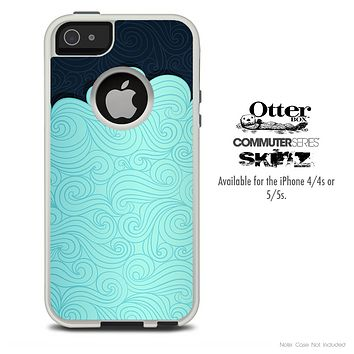 The Abstract Swirly Blues Skin For The iPhone 4-4s or 5-5s Otterbox Commuter Case