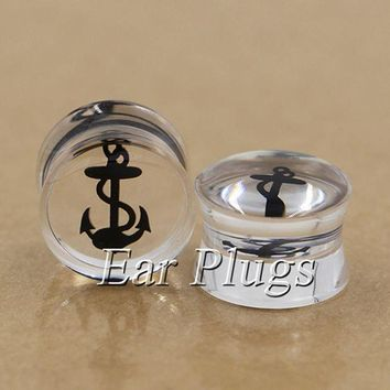 ac DCCKO2Q 2pcs Transparent acrylic sailor anchor ear plug gauges flesh tunnel plugs body piercing jewelry PDP0001