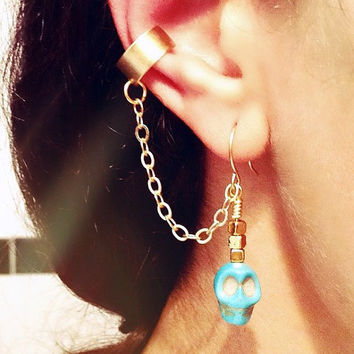 Ear cuff earrings Turquoise Stone Skulls Bohemian by AtelierYumi