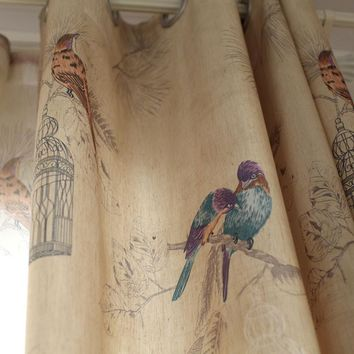 American rustic style Curtains for living room Birds Printed Drapes Home decor Linen Color window curtain (Single panel)