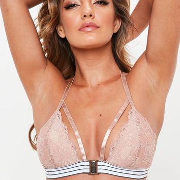 Missguided - Nude Front Fasten Contrast Elastic Soft Bra